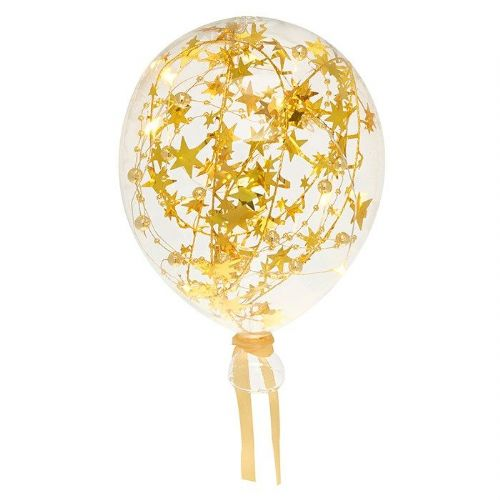 Clear Starlight Gold Large Glass LED Light Up Balloon